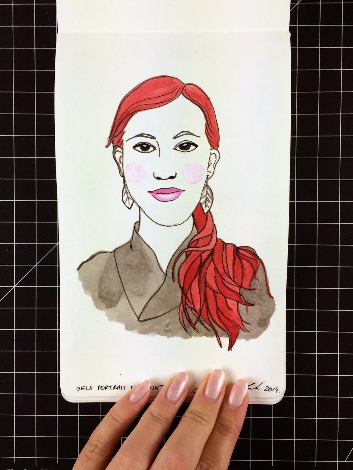 Inktober fashion illustration self portrait by Jessica Mack aka BrownPaperBunny