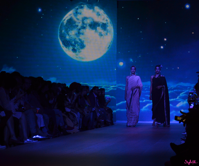 The start of Nikasha's show began as a moonlit night when models began walking on the runway at Lakme Fashion Week Winter Festive 2015 at the St. Regis Hotel