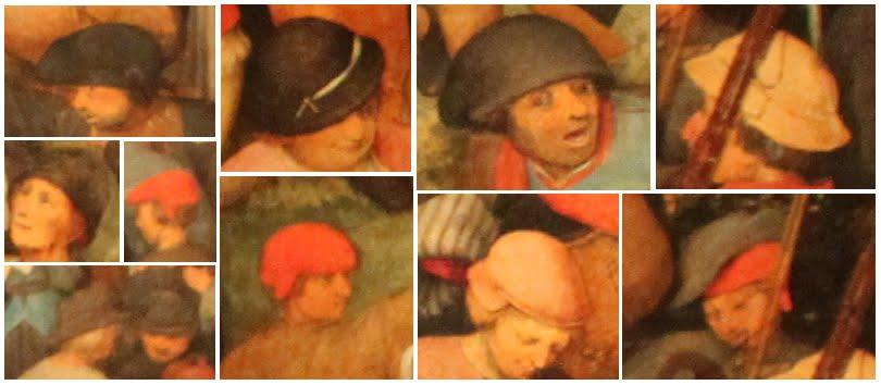 Various Renaissance hats for peasants from The Wedding Dance