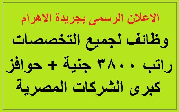 اعلان وظائف كبرى الشركات المصرية براتب 3800 جنية ومزايا اخرى بالاهرام