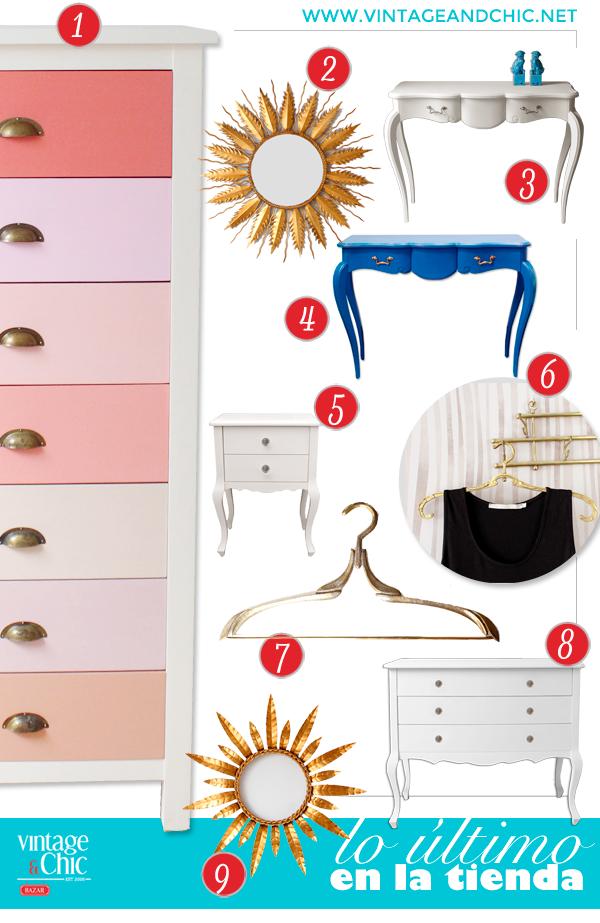 sinfonier de colores cajonera rosa y coral consola azul cómoda blanca espejos sol perchas latón