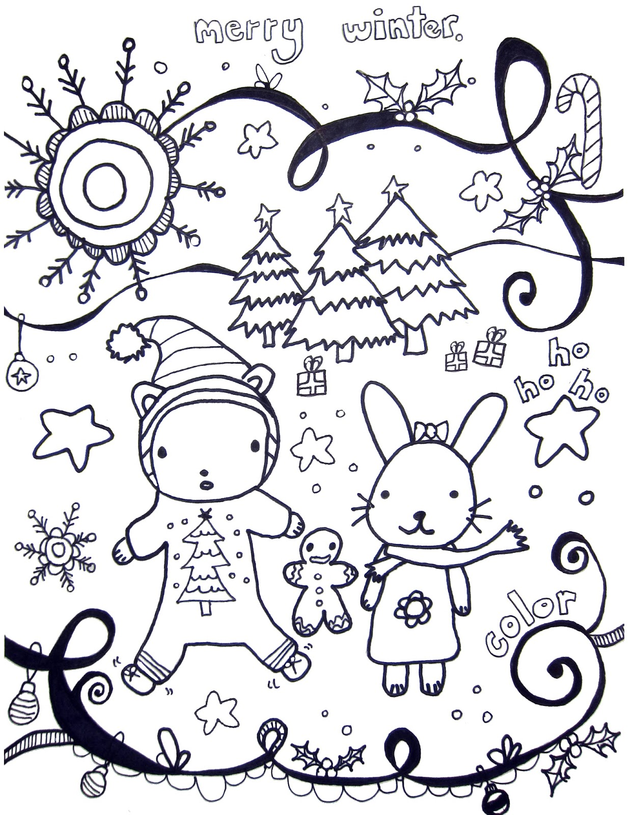 Winter pages to color - Happy Winter I Made A Coloring Sheet To Celebrate The Season Feel Free To Print And Color If You Do Use This Send Me A Pic So I Can See Your Finished