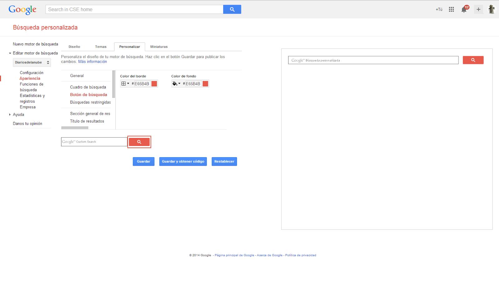 Configurando presentación de búsqueda personalizada de Google.