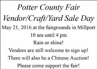 5-21 Potter County Fair Vendor/Craft/Yard Sale Day