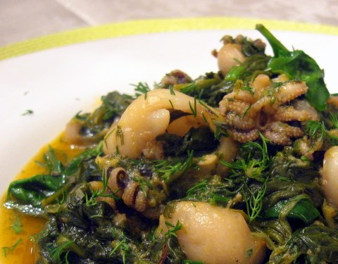Cuttlefish with spinach, Monastic Recipe, Monastic Recipes of Mount Athos
