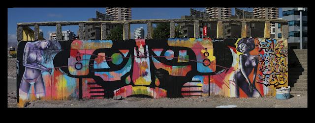 graffiti de izak y henruz en antofagasta, chile