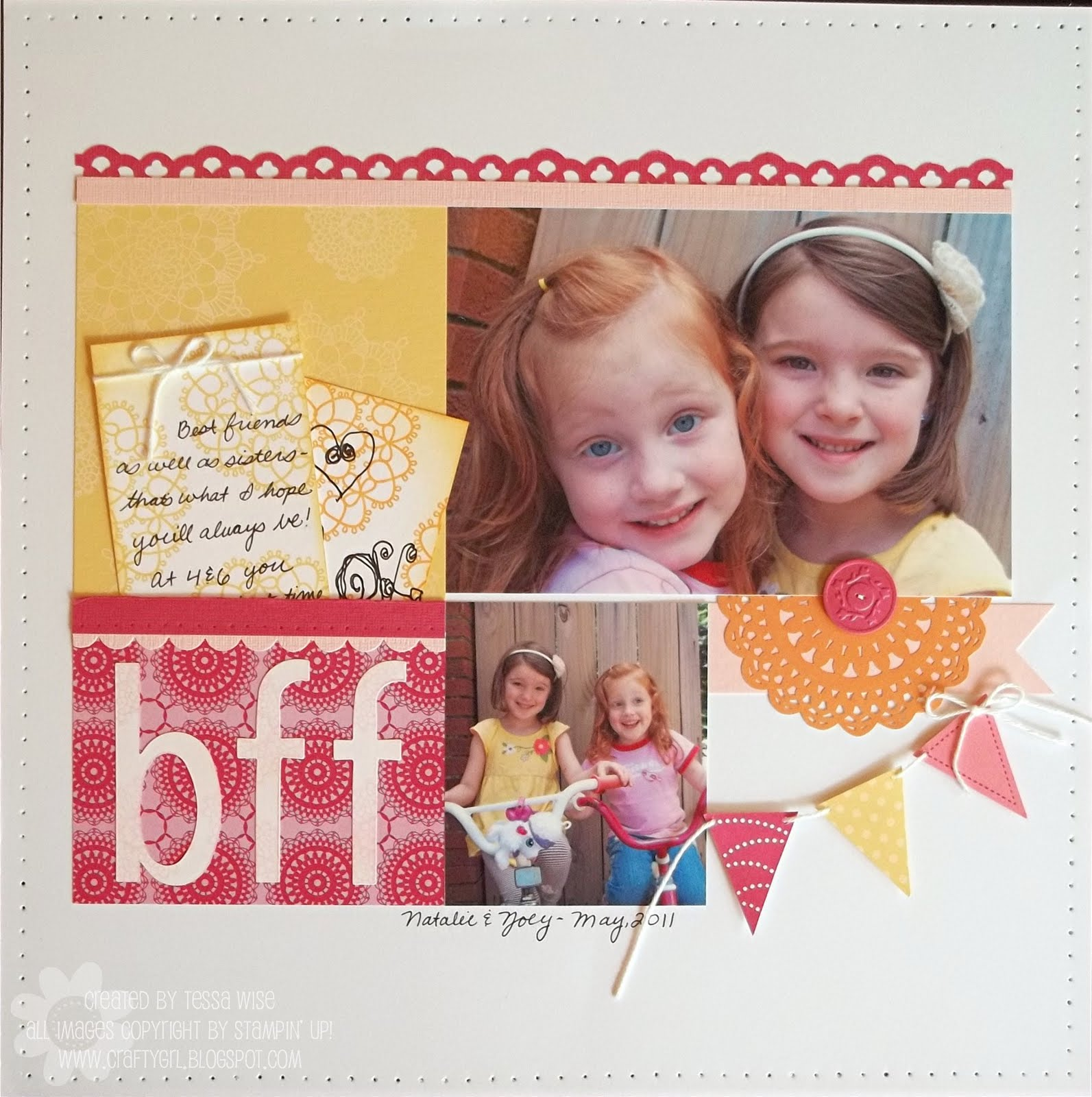 Scrapbook ideas for bff - I Was Thinking About Me And My Sister When I Made This Scrapbook Page Featuring My Little Girls I Hope They Have The Same Type Of Friendship We Have When