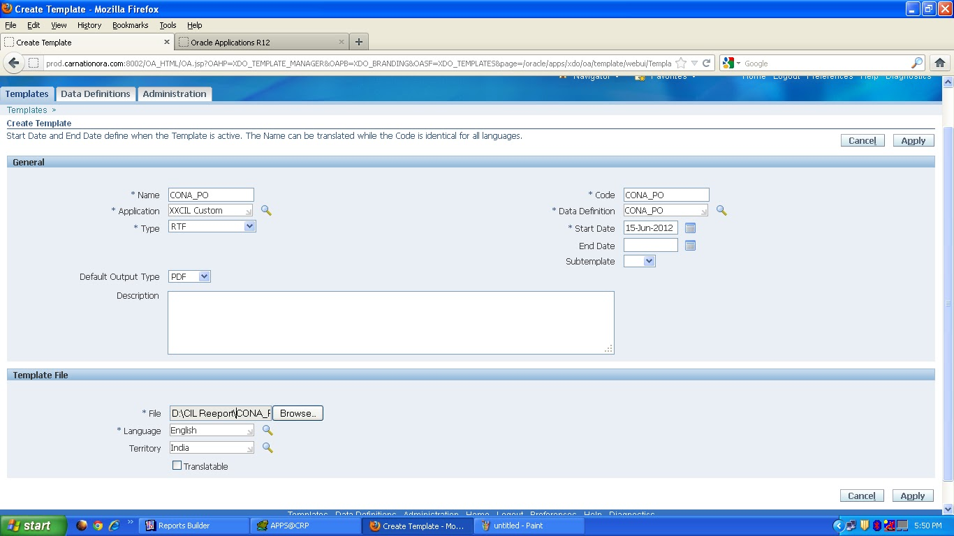 how to create project template in oracle apps