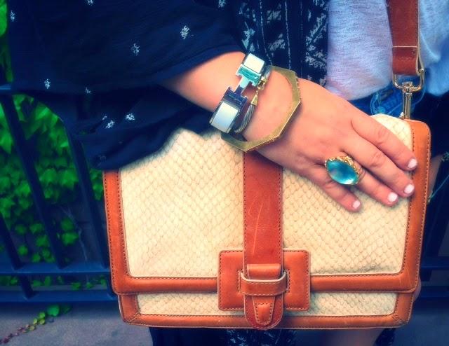 Hermes H bangle, white Hermes bracelet, Alexis Bittar bauble gold ring, lucite and gold ring, Brahmin atelier snakeskin bag, ivory cream crossbody shoulder bag, Kate Spade gold bangle