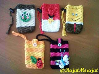 Crochet Cellphone, Kantong HP Rajut, Pouch Rajut