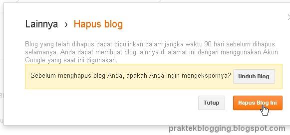 cara menghapus blog di blogspot