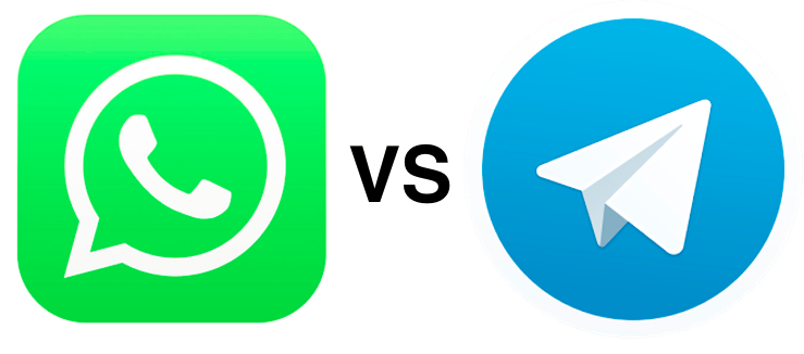 Telegram vs whatsapp logo