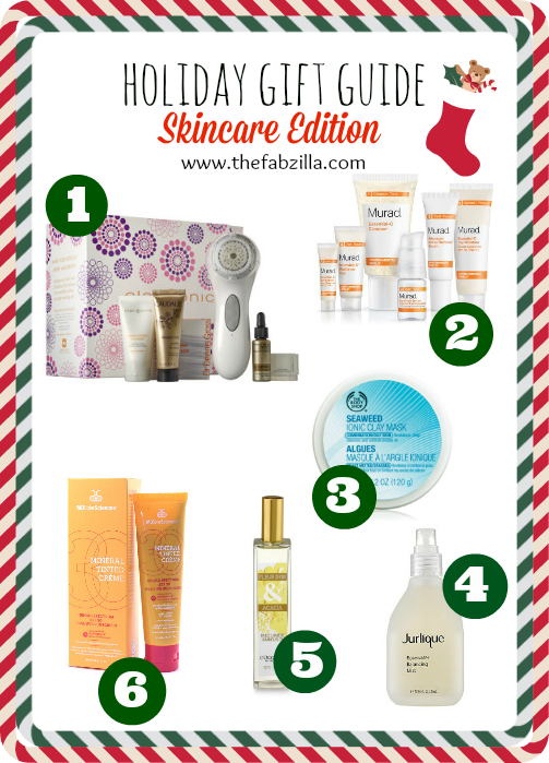 Holiday Gift Guide, Skincare, Clarisonic, Murad Environmental Shield, Jurlique, The Body Shop Seaweed Mask, L'Occitane, MD Solarsciences