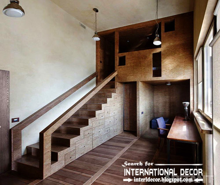 monolithic stairs design and staircase with built in storage drawers, interior stairs 2015