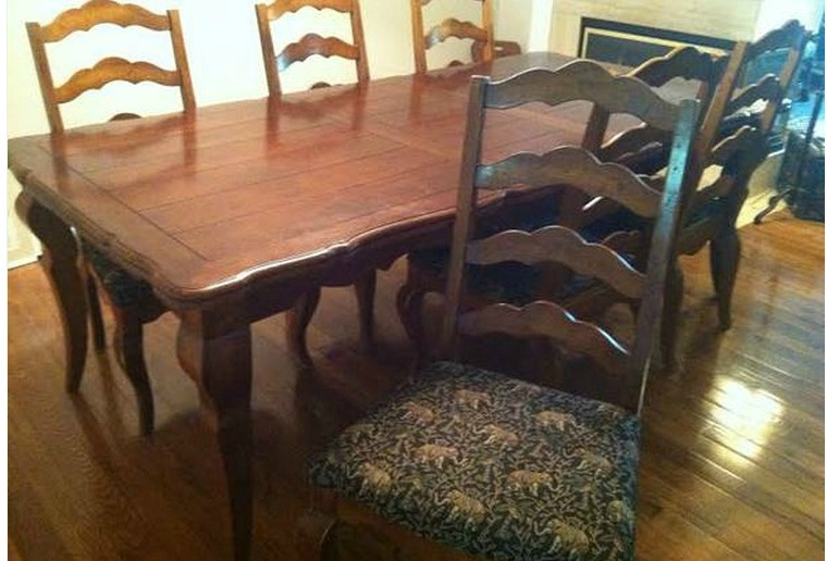 dining room sets with fabric chairs. While the original look of dining table was nice  I knew immediately that wanted to switch out legs for something with more a farmhouse BentleyBlonde DIY Farmhouse Table Dining Set Makeover