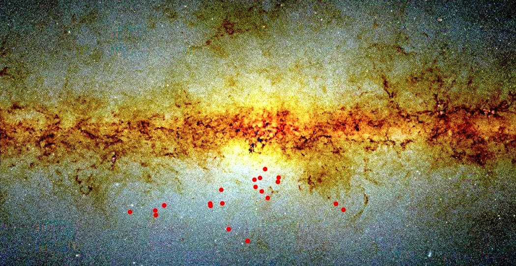 Map of the sky towards the central bulge of the Milky Way, with the positions of the binary candidates indicated as red circles. The background image is based on near-infrared observations obtained in the course of the Vista Variables in the Vía Láctea (VVV) ESO Public Survey. The scale is approximately 20 by 15 degrees. Credit: D. Minniti.