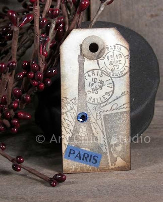 Paris Altered Art Tag