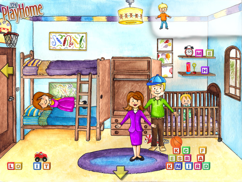 A screen capture of the bedroom of My PlayHome app to compliment the many  uses for. Speech Pathology and Technology for my Android powered World