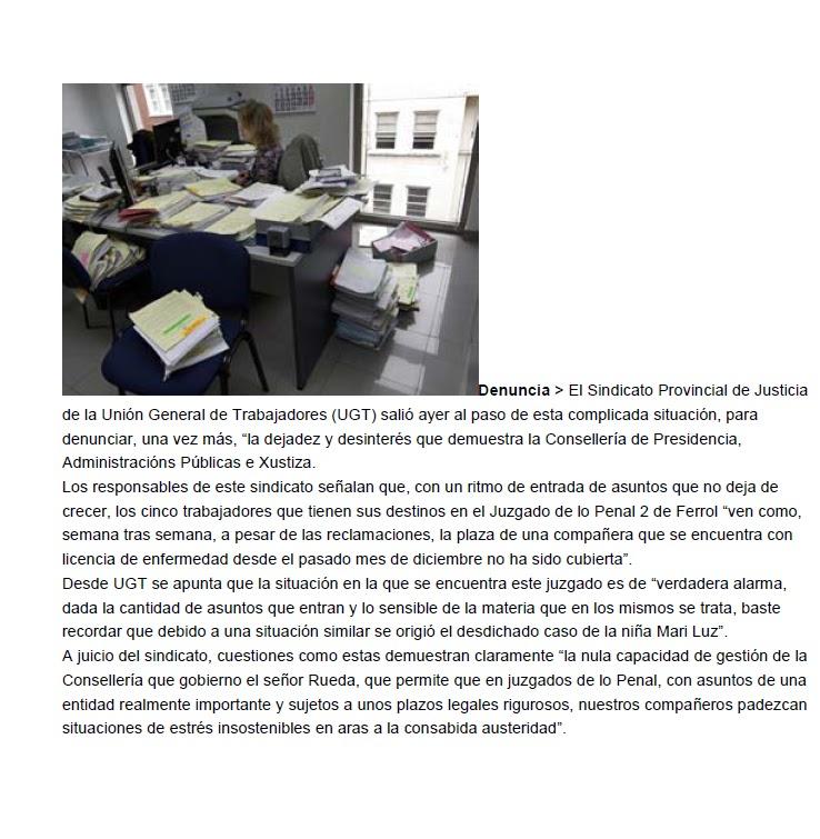 Ugt justicia galicia la xunta no cubre la bajas en un for Oficina virtual xunta galicia