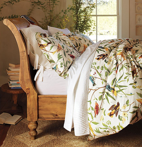Bird motif bedding spring decorating idea from pottery barn - Spring bedding makeover ideas ...