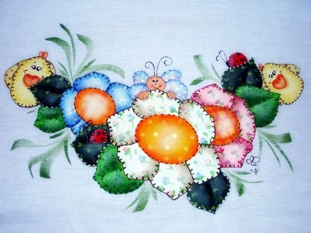 pintura country em tecido pintura imitação de patch apliquê