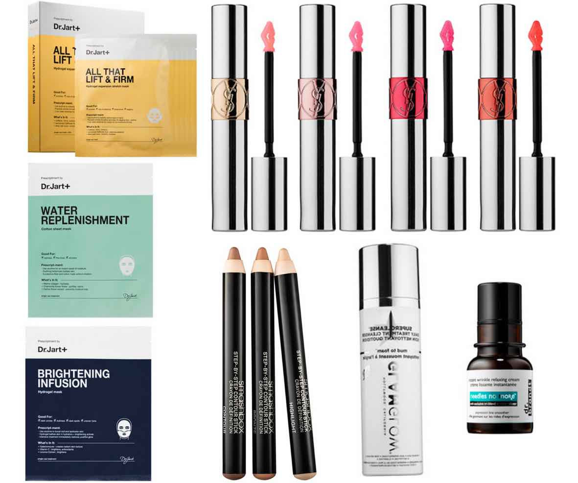 YSL-Volupte Tint-in-Oil-and-Smashbox Step-By-Step-Contour-Stick-Trio-and-Dr-Brandt-Needles-No-More-and-Glamglow-Supercleanse-and- Dr-jart+-Sheet-Masks