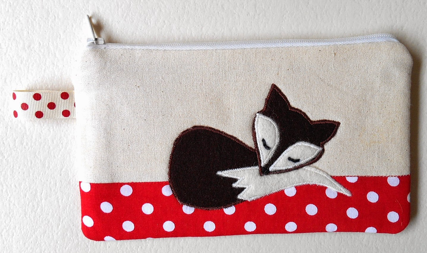 Sleeping Fox red Polka Dot Zipper Pouch