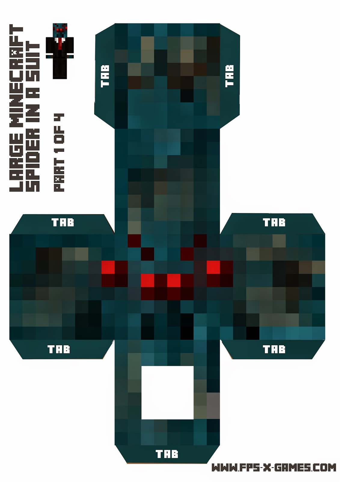 Minecraft spider in a suit, papercraft template 1 of 4