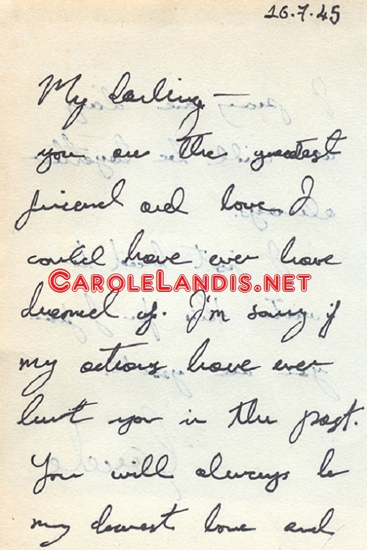Carole Landis Hollywood Legend Personal Letters To Lt Troy