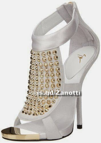 Giuseppe Zanotti Women's Studded Sandal,Cam Bianco