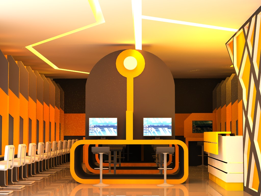 qswitch: Tron styling Cyber Cafe with orange lighting by Qswitch
