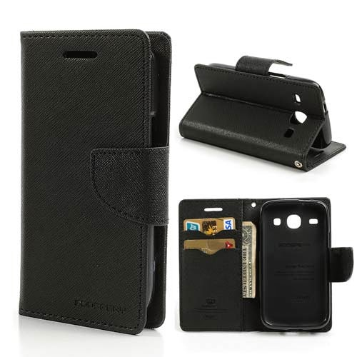 Mercury Goospery Fancy Diary Leather Case for Samsung Galaxy Core I8260 I8262 - Black