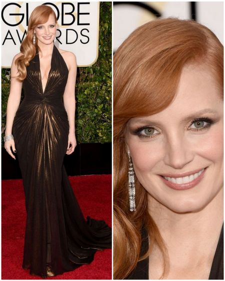 Jessica Chastain's look, in Atelier Versace at the Golden Globes 2015