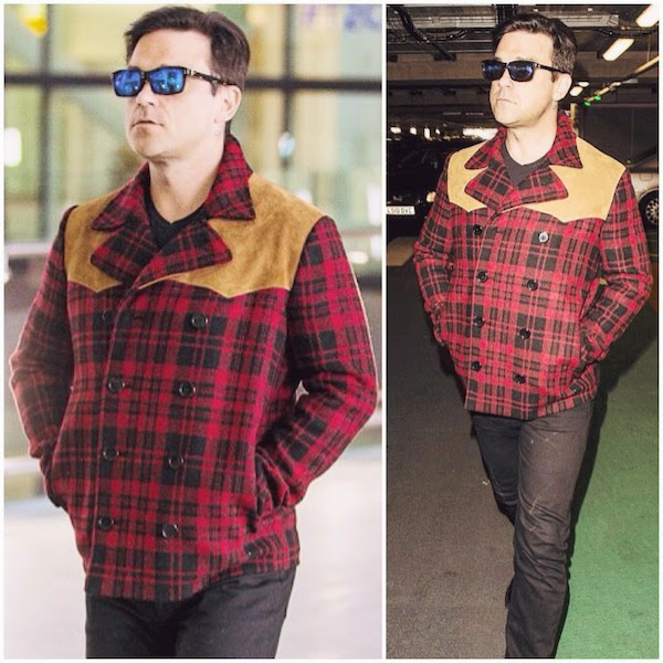 ROBBIE WILLIAMS WEARS SAINT LAURENT BY HEDI SLIMANE FALL WINTER 2014 SUEDE-PANELLED CHECK WOOL LUMBERJACK JACKET AT HEATHROW AIRPORT 29TH NOVEMBER 2014