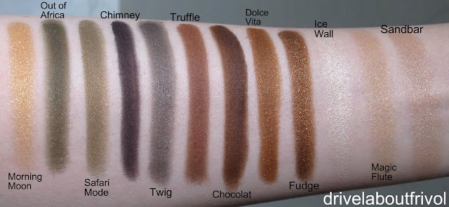 swatch Addiction eyeshadow 033ME Morning Moon, 047P Out of Africa, 048P Safari Mode, 040M Chimney, 041P Twig, 013M Truffle, 014M Chocolat, 016P Dolce Vita, 017ME Fudge,   008ME Ice Wall, 010P Magic Flute, 011P Sandbar
