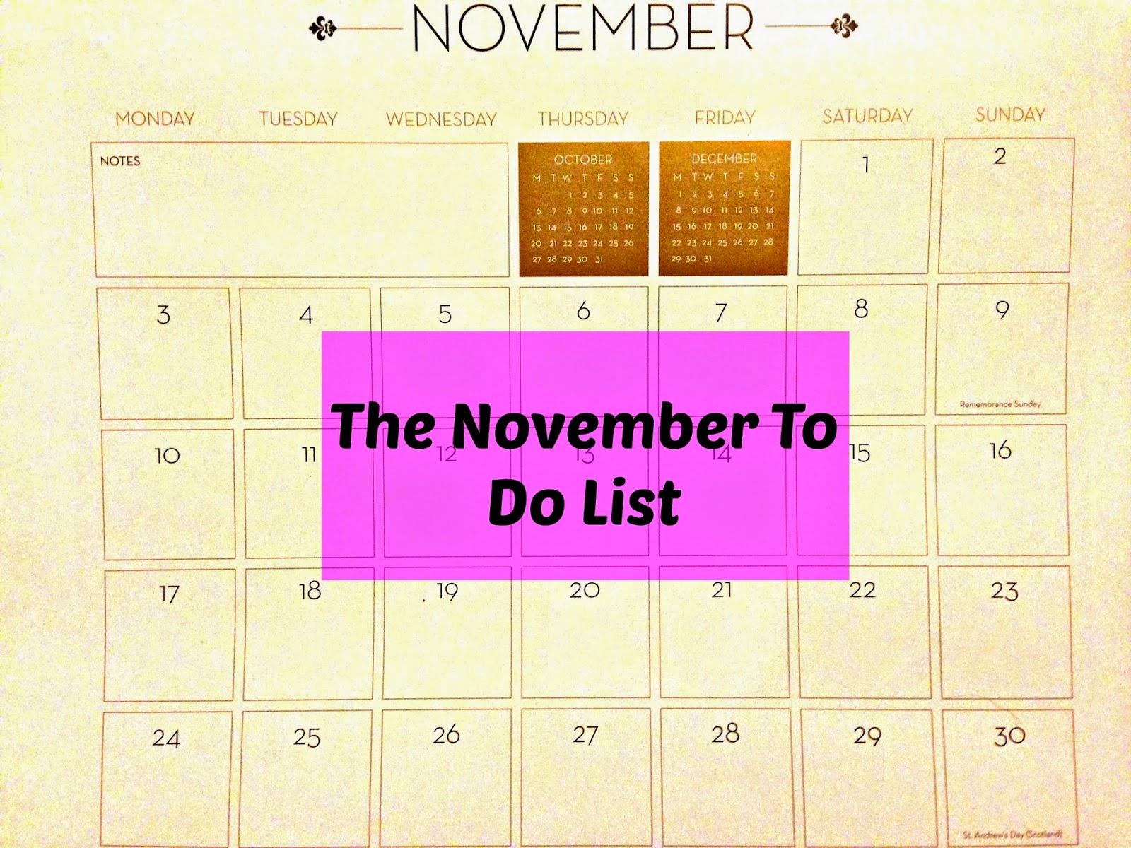 The November To Do List