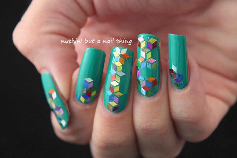 models own emerald green diamond luxe nail art
