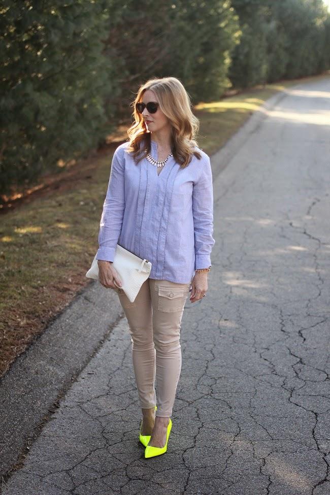jcrew blue shirt, joie so skinny pants, clare v clutch, elizabeth and james sunnies, jcrew necklace, kate spade heels