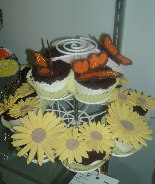 Butterfly and Flower Cupcake Arrangement