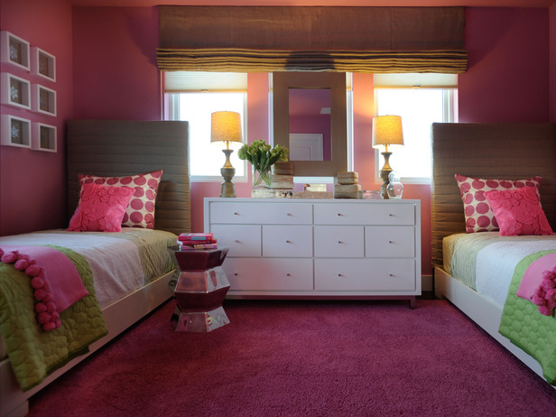 Sophisticated girl 39 s room palette of linen hot pink and green design dazzle - Hot pink room ideas ...