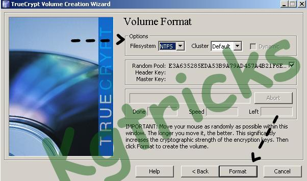 Select the File Type for the Encrypted Volume