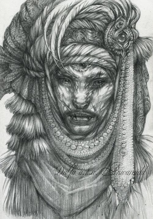 09-Cat-Nomad-Groom-Olga-Anwaraidd-Drawings-Fantasy-Portraits-Imaginary-Characters-www-designstack-co