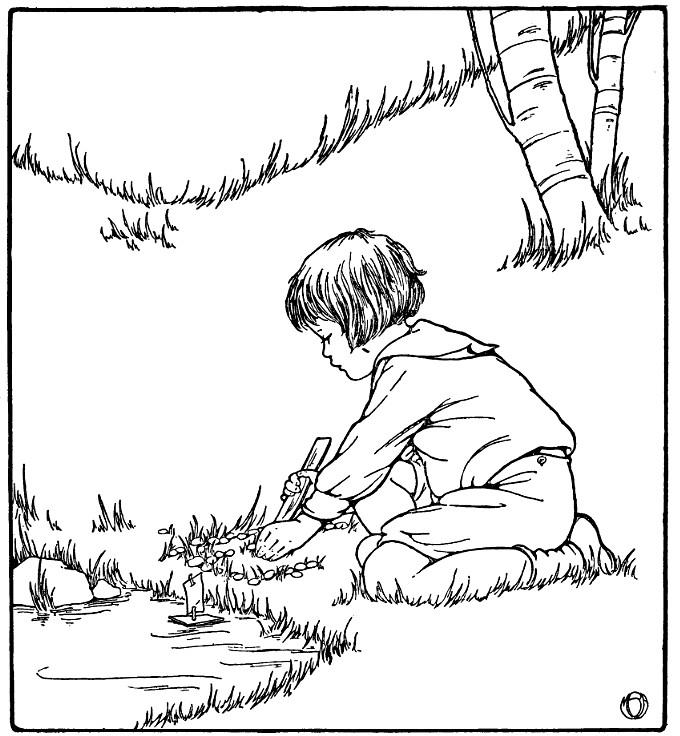 Niño con barco y juguete para imprimir