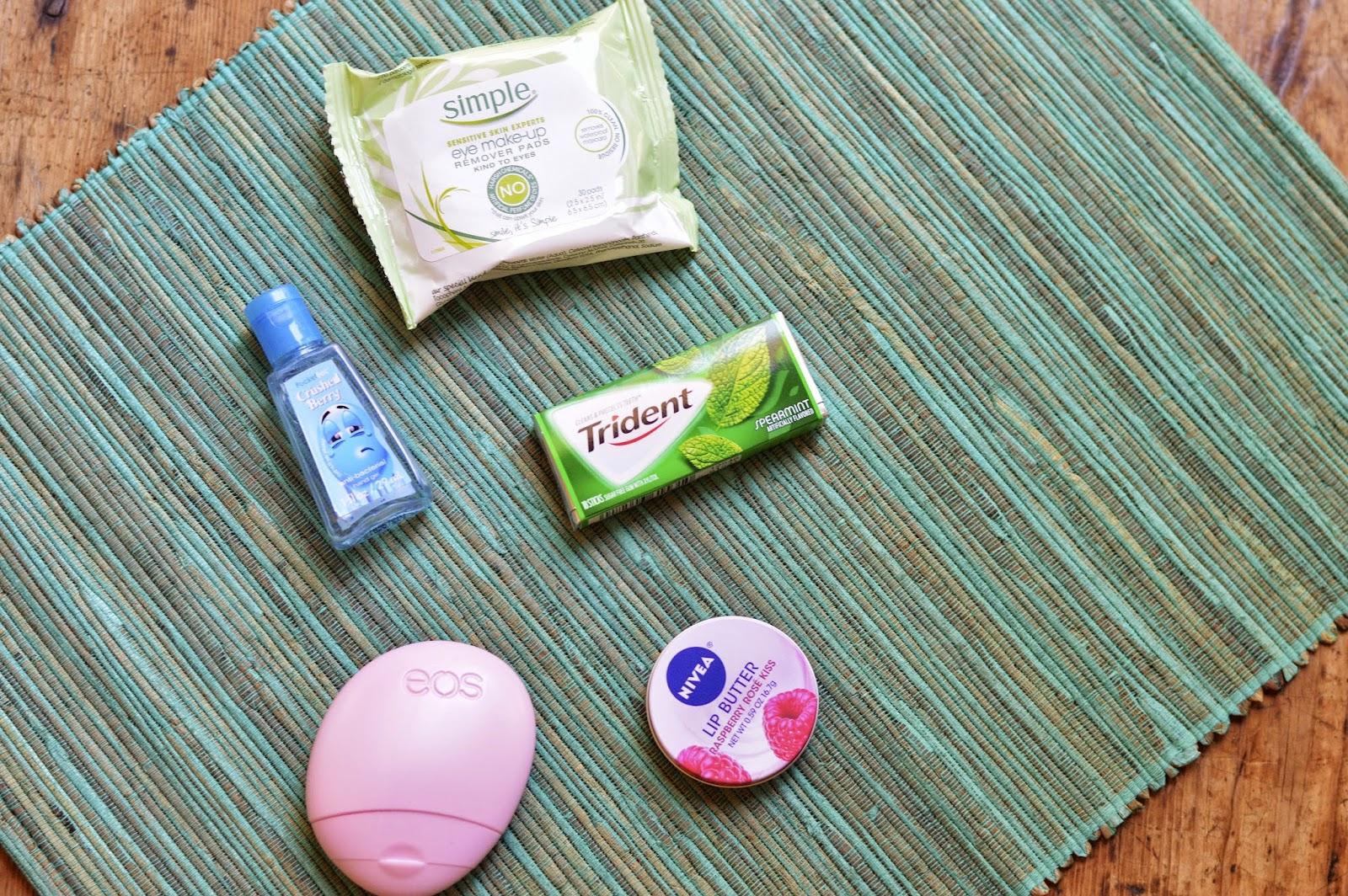 hand sanatizer, hand cream, lip balm, gum, makeup removing wipes