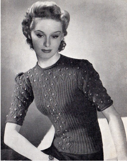 Free 1940's Knitting - Women's Bobble Jumper Pattern