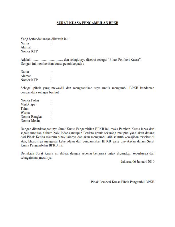 Contoh Surat Kuasa Pengambilan Bpkb Leon Pulsa Payment