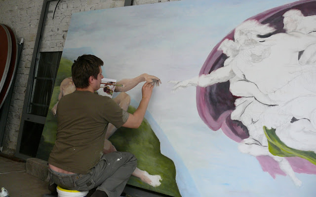 Malowanie reprodukcji n zamówienie obrazu olejnego, kopia stworzenia adama