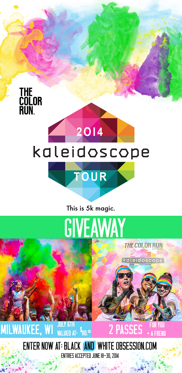 June Giveaway: Passes to The Color Run Milwaukee July 6th 2014 click through for your chance to #win | www.blackandwhiteobsession.com #giveaway #thecolorrun #Happiest5K