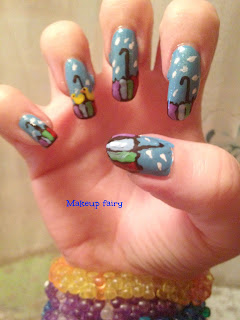 nail art rain and ducks