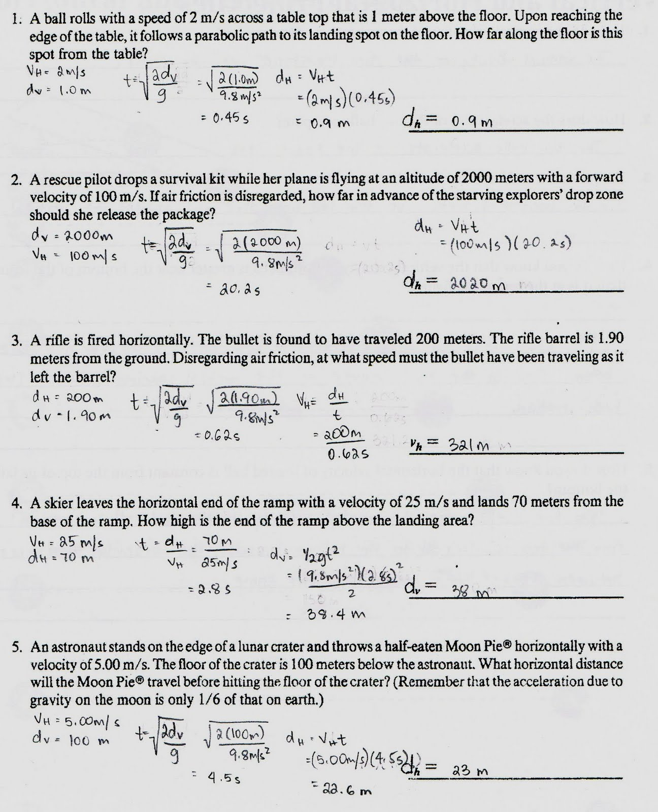 Printables Projectile Motion Worksheet projectile motion worksheets davezan physics1202 2010 continued